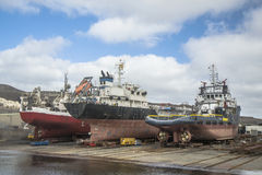 Shipyards. Vessels under repair in a shipyard Stock Photos