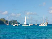 Vessels visiting bequia in the caribbean Royalty Free Stock Photos