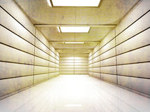 Vestíbulo encendido del pasillo con las paredes brillantes y el piso texturizados Fotografía de archivo libre de regalías