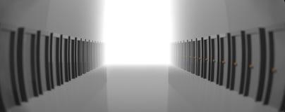 Vestíbulo gris con muchas puertas, llevando a la luz en el extremo representación 3d fotos de archivo