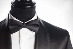 Vest detail. Detail of tuxedo vest with pocket bow tie and white shirt Royalty Free Stock Photos