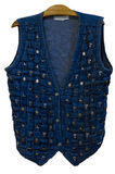Vest jean weave with silver brooch /isolated Royalty Free Stock Photography