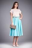 Vesta la gonna della blusa della raccolta del modello di stile di modo dei vestiti della donna Fotografie Stock