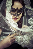 Vestal.Veiled virgin, spirituality concept. woman with mask posi Royalty Free Stock Images