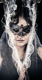 Vestal.Veiled virgin, spirituality concept. woman with mask posi Royalty Free Stock Photos