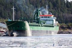 Vestanhav cargo vessel. Vestanhav transports crushed granite from Halden Norway to around the world. Vestanhav is 123m long and 16m wide. Buildyear 2012. Flag is Royalty Free Stock Photos