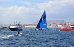 Vestas 11th Hour Dodging The Spectator Boats Volvo Ocean Race Alicante 2017 Stock Photos