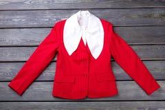 Veste élégante rouge de femme d'affaires de configuration plate Photo stock