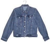 Veste de jeans de denim d'isolement sur le blanc images stock