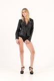 Veste en cuir blonde sensuelle Photos libres de droits