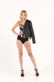 Veste en cuir blonde sensuelle Photo libre de droits