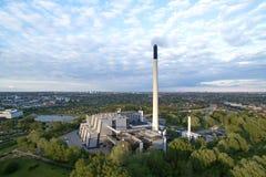 Vestforbraending鸟瞰图在丹麦 免版税图库摄影