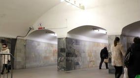 Vestiblue da transição em Moscou subterrânea video estoque