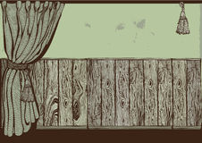 Vestibule with wooden panel and curtain. Vintage drawing Stock Photo
