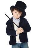 Vestido adorável da criança do illusionist com chapéu foto de stock royalty free