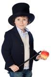 Vestido adorável da criança do illusionist com chapéu fotos de stock royalty free