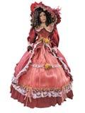 Vestido adornado rojo medieval del vintage abstracto en un isola del mannequine Imagenes de archivo