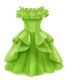 Vestido amarillo verde del vintage stock de ilustración
