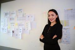 Vestido asiático bonito, sorriso e suporte do preto do desgaste de mulher do negócio no escritório com espaço da cópia para o tex Fotografia de Stock Royalty Free