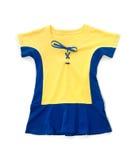 Vestido azul amarillo lindo de los niños Fotos de archivo