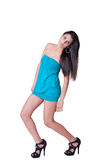 Vestido azul de desgaste de mulher da forma mini Fotos de Stock
