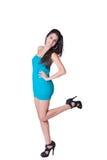 Vestido azul del desgaste de mujer de la moda mini Fotografía de archivo libre de regalías