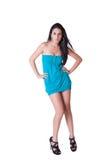 Vestido azul del desgaste de mujer de la moda mini Fotos de archivo libres de regalías