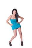 Vestido azul del desgaste de mujer de la moda mini Fotografía de archivo