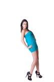 Vestido azul del desgaste de mujer de la moda mini Foto de archivo libre de regalías