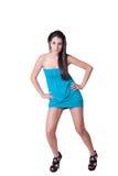 Vestido azul del desgaste de mujer de la moda mini Foto de archivo