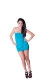Vestido azul del desgaste de mujer de la moda mini Imágenes de archivo libres de regalías