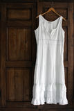 Vestido branco no Wardrobe Imagem de Stock Royalty Free