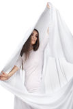 Vestido branco vestindo da mulher romântica isolado Imagem de Stock Royalty Free