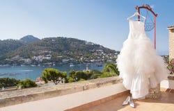 Vestido colgado. Wedding dress in Puerto Andratx Royalty Free Stock Photography