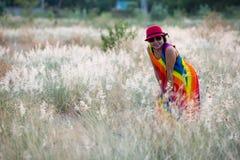 Vestido colorido del retrato asiático de las mujeres Fotografía de archivo libre de regalías