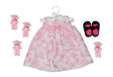 Vestido cor-de-rosa elegante para uma menina isolada no branco Fotos de Stock