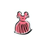 Vestido cor-de-rosa ilustrado, roupa tirada mão do vetor ilustração stock