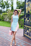 Vestido corto elegante de la mujer del desgaste rubio atractivo hermoso del maquillaje Fotografía de archivo