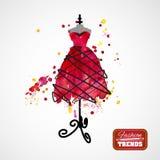 Vestido da aquarela no manequim Imagem de Stock