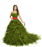 Vestido da mulher da árvore de Natal, modelo de forma no branco, menina do Xmas Foto de Stock Royalty Free