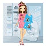 Vestido da terra arrendada da menina na loja Ilustração Royalty Free