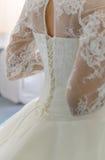 Vestido de boda blanco con el cordón largo Fotografía de archivo