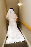 Vestido de boda de la novia que lleva Imágenes de archivo libres de regalías