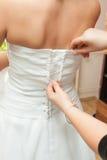 Vestido de boda del vestido-para arriba para la novia Fotografía de archivo