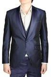 Vestido de boda para hombre de los azules marinos, traje del novio, chaqueta, chaleco Foto de archivo