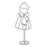 Vestido de cóctel con un arco Maniquí del cortocircuito del vestido de bola Fotografía de archivo libre de regalías