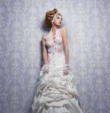Vestido de casamento branco do laço Fotografia de Stock