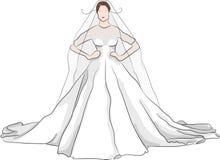 Vestido de casamento magnífico do esboço com bordos vermelhos Fotos de Stock