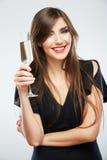 Vestido de comemoração novo do preto da mulher Retrato modelo bonito Imagem de Stock
