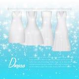 Vestido de la novia de la boda Vestido de boda blanco de la moda hermosa ropa de tarde de la mujer de la elegancia para el partid ilustración del vector
